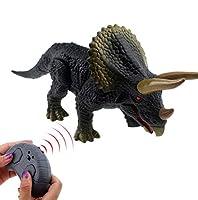 Tipmant RC恐竜リモートコントロール動物トリケラトプスカー電子玩具サウンド、ウォーキングレッグ、グローイングアイズキッズギフト
