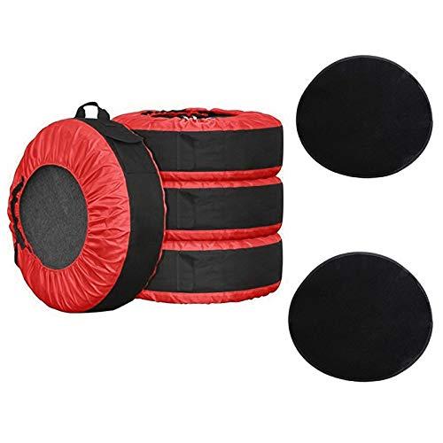 ADD 76,2 cm Reifen-Abdeckung, 4 Stück + 2 Stück Radfilz, strapazierfähige Ersatzreifen-Schutz-Tragetasche, saisonale Reifen-Aufbewahrungstasche für 43,2 - 76,2 cm Reifen (rot)