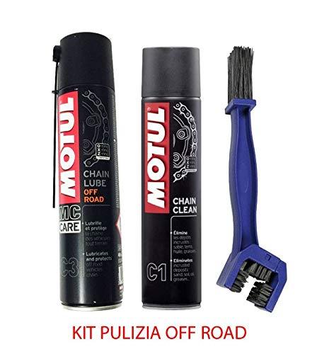 Kit limpiador lubrifica cadena Motul Chain Clean C1 + Motul C3 Chain Lube Off Road + Cepill