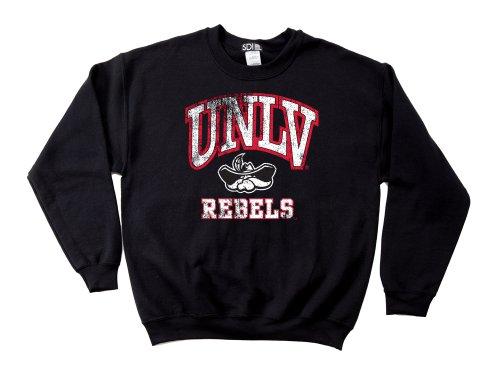 UNLV Rebels 50/50 Blended 8-Ounce Vintage Mascot Crewneck Sweatshirt, Large, Black