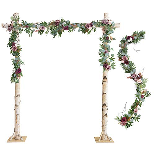 Ling's moment Wedding Arch Flowers Burgundy Floral Garland Greenery Garland 2 Rows 6.5 Ft for Wedding Ceremony Backdrop Decorations
