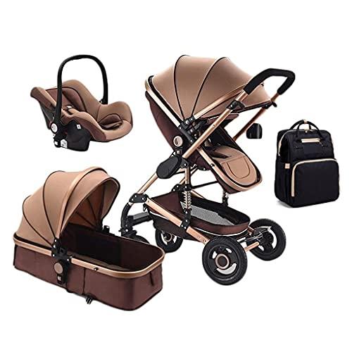 YXCKG 3 En 1 Sillas De Paseo Plegable Cochecito De Bebé Función De Rotación 360 del, Cochecitos para Bebés Ligero Plegable, Bolsa De Mamá Portátil, Cochecito High View para Bebés De 0 A 36 Meses
