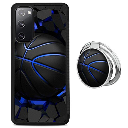 Black Samsung Galaxy S20 FE 5G Case with Ring Holder Stand Basketball Pattern 360 Rotation Ring Grip Kickstand Soft TPU and PC Anti-Slippery Design Protection Bumper for Samsung Galaxy S20 FE 5G