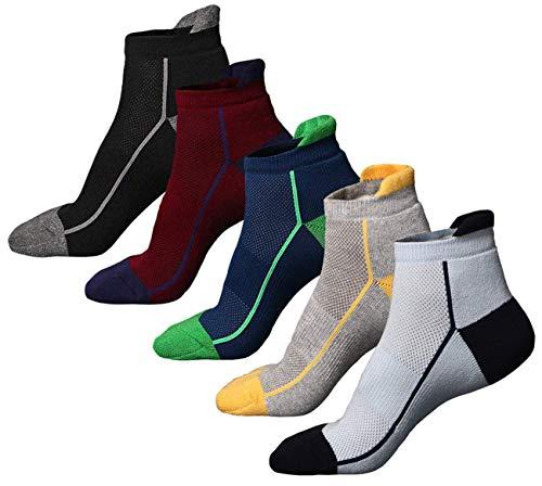 5 Pairs Mens Low Cut Laufen Wandern Socken Gepolsterte Sport Sneaker Socken Outdoor Wandern Klettern Socken Keine Blister Terry Kissen, Atmungsaktiv, Feuchtigkeitstransport, Arch Support, für Outdoor