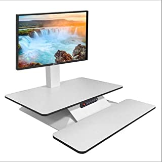STANDESK Memory + Keyboard White, Electric with Memory Function Height Adjustable Desk Sit Stand Desk with Keyboard Tray