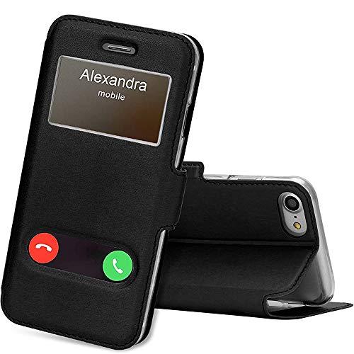 """FYY Etui Coque iPhone 7/8, Coque iPhone SE 2020, Housse Magnetique Smart View avec Fenêtre d'Ouverture pour Apple iPhone SE 2020/iPhone 8/iPhone 7 4.7"""" Noir"""