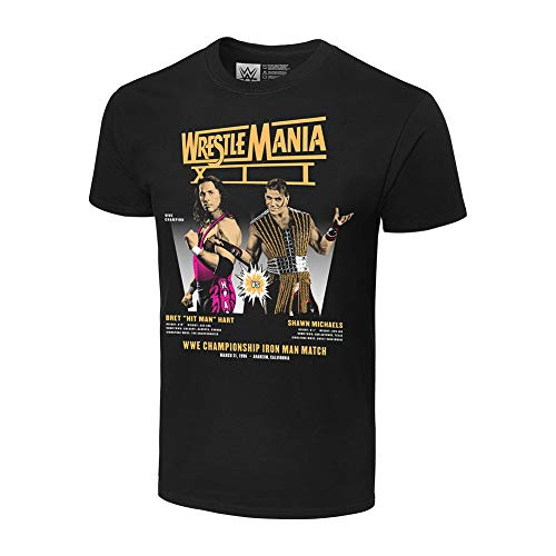 WWE Authentic Wear Wrestlemania XII Bret Hart vs Shawn Michaels Matchup T-Shirt Black Extra Large