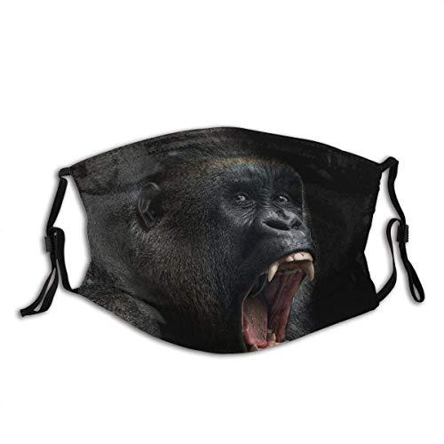 Tieraffe AFFE Gorilla Silberrücken Zähne Porträt Nahaufnahme Berg Afrika Emotionen Gesichtsdekorationen FA-Ce Co-Ver FA-Ce Mas-Ke Mit Filtern