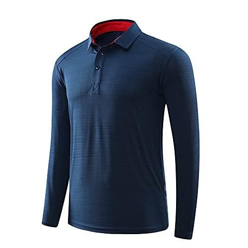 Camiseta de manga larga para hombre, para correr, de secado rápido, para golf, ajuste regular, informal, elegante, con tapeta de botón