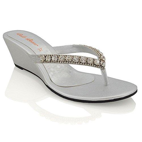 ESSEX GLAM Sandalo Donna Argento con Zeppa Bassa Finto Diamante Effetto Scintillante EU 38