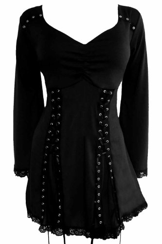 Dare to Wear Electra Corset Top: Gothic Punk Rock Steampunk Women's Plus Size Tunic Shirt for Everyday Halloween Cosplay Concerts, Raven 1x