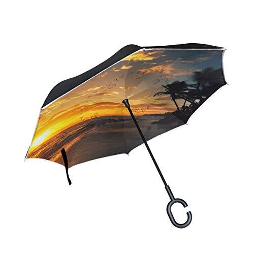 FANTAZIO Umkehrbarer Regenschirm Seabeach Sunset Doppelschichtiger UV-Schutz Rückseite Regenschirm selbststehender C-förmiger Griff innen nach außen klappbar Winddicht und wasserabweisend