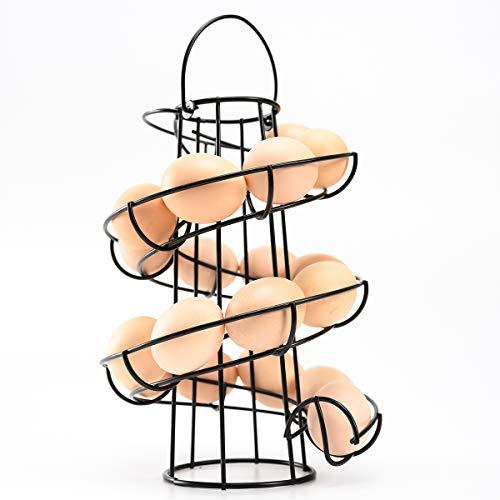 Egg Skelter Spiral Design Metal Egg Rack Egg Dispenser Modern Egg Storage Display Holder , 20-24 Eggs (Black)