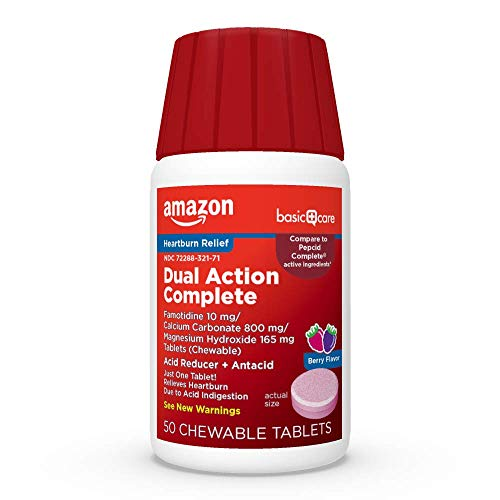Amazon Basic Care Dual Action Complete, Chewable Acid Reducer & Antacid Tablets, Berry Flavor; Helps to relieve heartburn due to acid indigestion, 50 Count