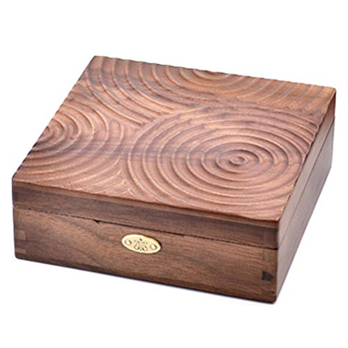 Sinzyoシリンダーオルゴール 春の韻 木製 アクセサリー収納ケース 記念日 お誕生日プレゼント 母の日ギフト (ウォールナット, 曲:出会い)