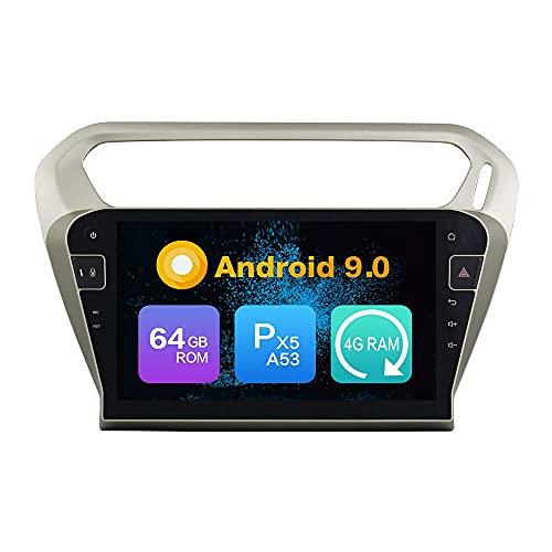 ZERTRAN Android 9.0 Core PX5 4G RAM 64GB ROM Autoradio GPS Navigation Reproductor Multimedia Car Stereo Control de Volante de Unidad Principal de Radio por Peugeot 301 2013 2014 2015 2016