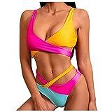 HWGOOD Traje de baño de dos piezas para mujer, espalda descubierta, parte superior de bikini, triángulo estampado, retro, elegante, estampado de bloques de color, bikini, ropa de playa # 24/Rosa M