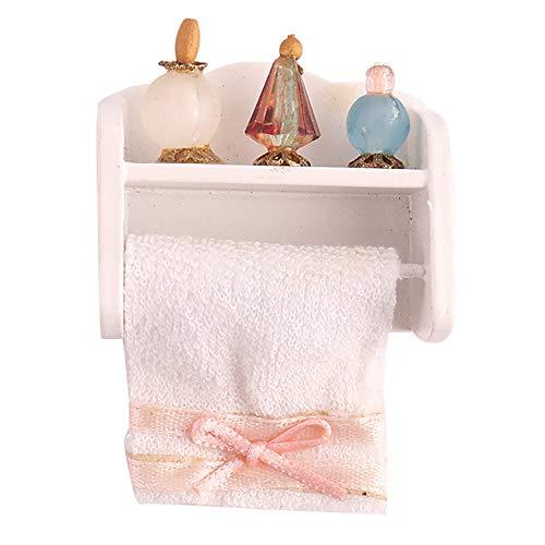 Ruby569y Accesorios para casa de muñecas para bricolaje, escala 1/12 Mini alta simulación escenario accesorio de madera muñeca casa toallero con 3 perfumes para jugar - blanco