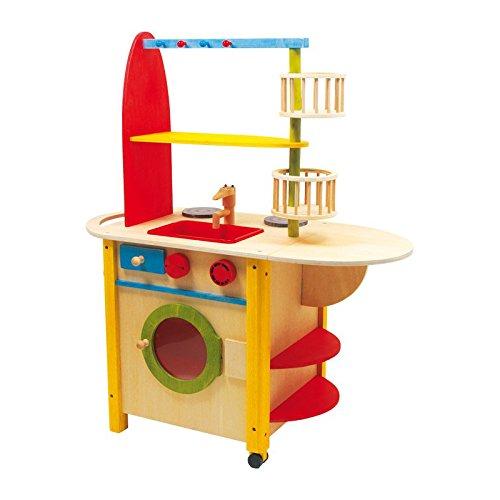Kinderküche aus Holz mit ausklappbarer Theke,  Spielspaß auf beiden Seiten, mit Waschmaschine sowie Herd  und Ofen