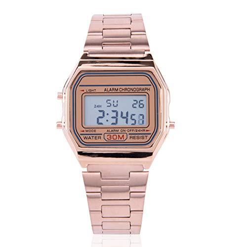 DAUERHAFT Reloj electrónico con Correa de Acero Inoxidable con retroiluminación LED Digital de 3 Colores, Reloj de Pulsera Rectangular, Resistente al Agua hasta 30 m(Oro Rosa)