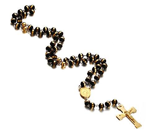 VNOX Edelstahl Rosenkranz Perlen Lange Kette Katholische Kruzifix Gold Kreuz Halskette mit Medaille