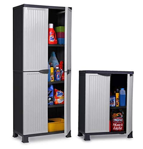 Set: Großer + mittlerer Kunststoffschrank der Noble-Serie mit verstellbaren Einlegeböden und je 20kg Tragkraft