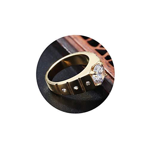 KnSam Anillo para hombre de acero inoxidable, anillo ancho redondo de oro