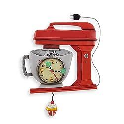 Allen Designs Red Vintage Kitchen Mixer Wall Clock with Cupcake Pendulum