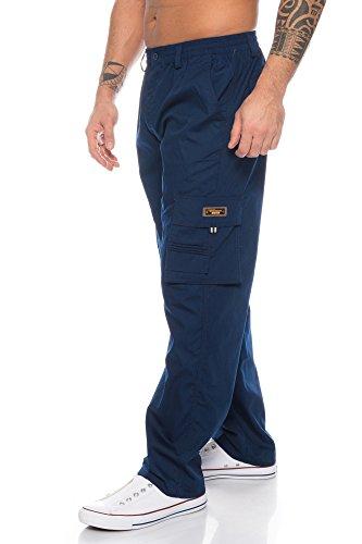 Herren Cargo Hose Cargo Pants Unifarbe Arbeitshose Cargohose Cargopants Dehnbund (Blau, XL)
