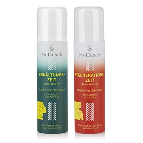 MeDusch bekannt als MediDusch 2er Set Aroma-Duschschaum Erkältungs+Regenerationszeit | Kräuterbad-Feeling in der Dusche | frei von Mikroplastik, Silikonen und Parfüm [150ml grün/weiß+150ml rot/weiß]