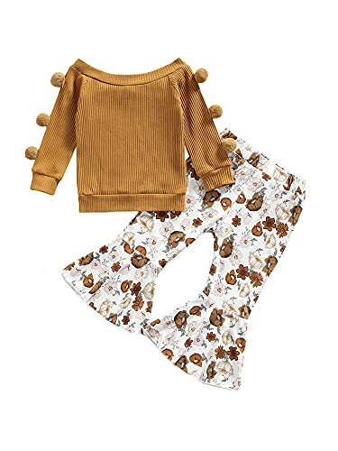 Toddler Baby Girl Fall Clothes Off Shoulder Ruffle Knitted Top Pullover+Floral Flare Pants Set 2Pcs Outfits (Ginger, 9-12 Months)
