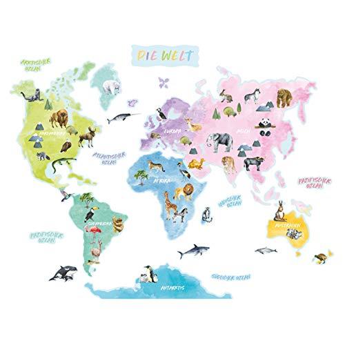 Birdie Birdie Weltkarte Wandtattoo Tiere für Kinder   PVC-freie Wandsticker für Kinderzimmer und Spielzimmer   Wanddeko mit ablösbaren Wandaufklebern für Jungen & Mädchen (Groß) (Deutsche Ver.)