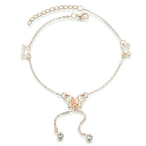 XKMY Pulsera tobillera para mujer, con forma de mariposa y mariposa, color dorado, plata, cadena de color plateado, sandalias de pie de playa para regalo (color metálico: J50070)