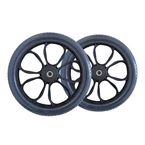 Ruedas para sillas de ruedas Sillas de ruedas manuales, llanta de repuesto de caucho macizo, freno de cubo de llanta, rueda nueva para trabajo pesado, para camiones de mano, carretillas, carros, paq