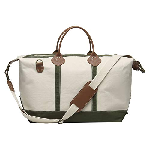 Tag&Crew Signature Duffle Bag, Large, Made of 20 oz. Heavy Cotton Canvas, Size 15 H x 28 W x 10 D Inches - Olive