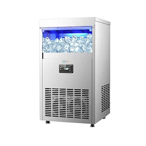 SHENRQIA Eiswürfelmaschine Edelstahl, 95kg /24h, 15Minuten Produktionszeit, 2 Eiswürfel-Größen, Selbstreinigungsfunktion,Eiswürfelbereiter, Leise Ice Maker Ohne Wasseranschluss