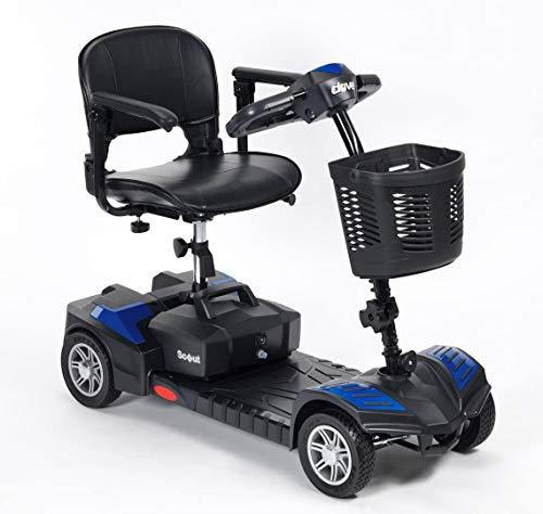 Wheelchair Rollstuhl, medizinischer Reha-Stuhl für Senioren, alte Menschen, Scout Venture Scooter 4-Rad - leichter zusammenklappbarer Motorroller - motorisierter Mobilitätsroller für Erwachsene (blau