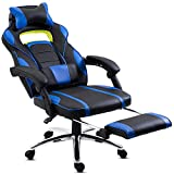 Hadwin Gaming Chair Office Desk Chair Racing Chair Reclining Leather Computer Chair Swivel Office Chair with Footrest, Adjustable Headrest and Lumbar Support,Blue