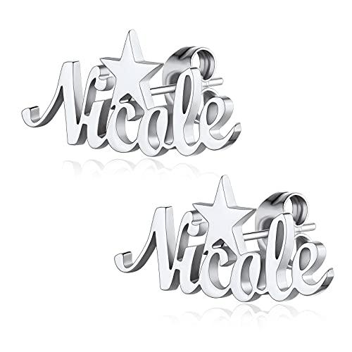 Estrella Pendientes Mujeres con Nombres Personalizados Acero Inoxidable 316L Aretes Plateados para Novia Regalo Cumpleaños Joyerías de Moda