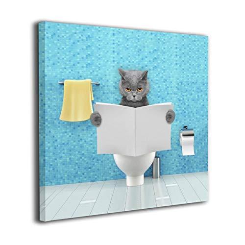 Ale-art 猫柄 ねこ アニマル 青 トイレ アートパネル 30cm*30cm ポスター 絵画 壁掛け インテリア 風景 キャンバス絵画 バスルーム ダイニングルーム 装飾