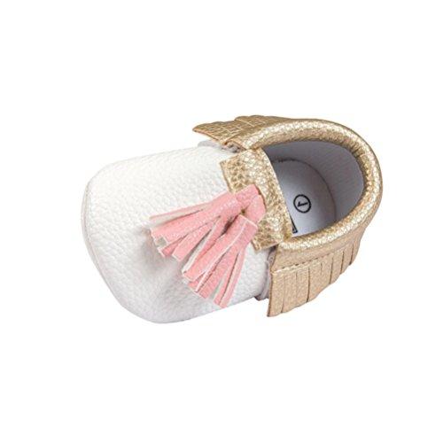 kingko® Toddler bébé Infant Garçon Fille Tassel douce Sole Prewalker Chaussures Blanc (12~18 Mois)