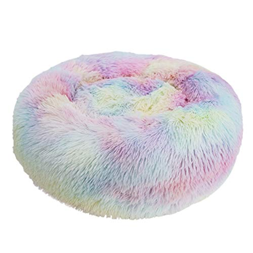 Decdeal Cama de Gato Donut Cama de Mascotas Perros Redonda Cómodo Suave Corto Nido de Donut con Cojín para Animales Domésticos Cachorros para Dormir Descansar Invierno (50 cm, Rosa Claro Mezclado) ⭐