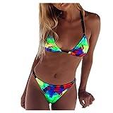 Traje de baño para niñas con correa y forro de bikini para mujer, traje de baño de playa, estampado de leopardo, bikini de color fluorescente, traje de baño sexy y descarado