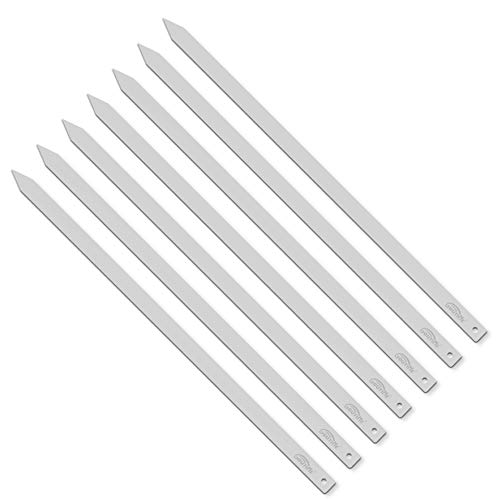 Goutime Kabob Skewers, 27 Inch, 1 Inch Wide Stainless Steel Flat BBQ Barbecue Kebab Skewers, No-Wood Handle,for Persian, Brazilian, Koobideh Grilling,Set of 7 with Storage Bag