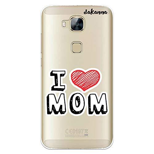 dakanna Funda para Huawei G8 - GX8 | con Frase Te Quiero Mama | Carcasa de Gel Silicona Flexible | Fondo Transparente