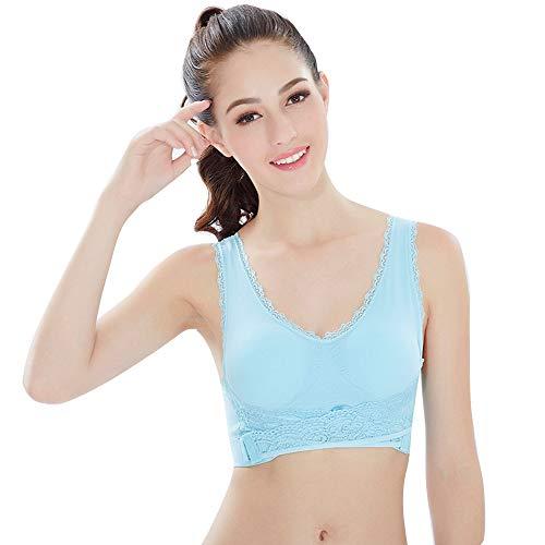 LVYIMAO brasier deportivo moderno para mujer, de alto impacto, gimnasio, actividad, sujetador push-up, sin costuras, sin cordones inalámbricos para maternidad, lactancia Azul azul XL