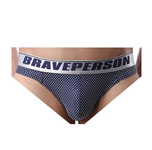 BRAVE PERSON Men's Sexy G-String Jacquard Thong Underwear Swimwear B1153 (M, Navy)