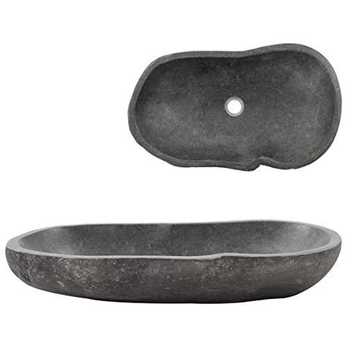 Tidyard Waschbecken Flussstein Oval 60-70 cm Waschtisch Aufsatzwaschbecken Steinwaschbecken Badezimmer Flussstein Naturstein