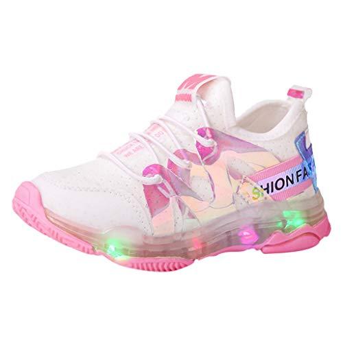 1-6 Años,SO-buts Niños Niño Bebés Niñas Casual Malla Blanca Letra Led Luz Luminosa Carrera Deportiva Zapatillas Zapatillas Zapatos (Rosado,29 EU)