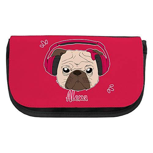 Kosmetiktasche mit Namen Alexa und Mops-Motiv mit Kopfhörer und Schleife in Pink   Schminktasche   Viele Vornamen zur Auswahl